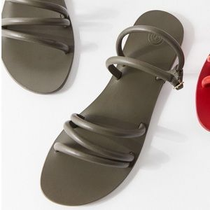 UO 100% leather tube strappy sandal in Army green